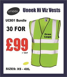 30 Uneek Hi Viz Yellow Vests for £99