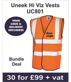 30 Uneek Hi Viz Vests Orange for £99